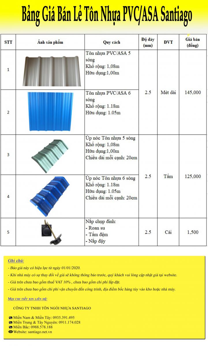 bảng giá tôn nhựa pvc asa