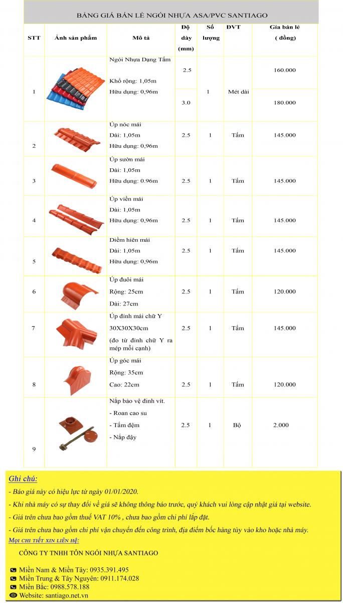 giá ngói nhựa pvc