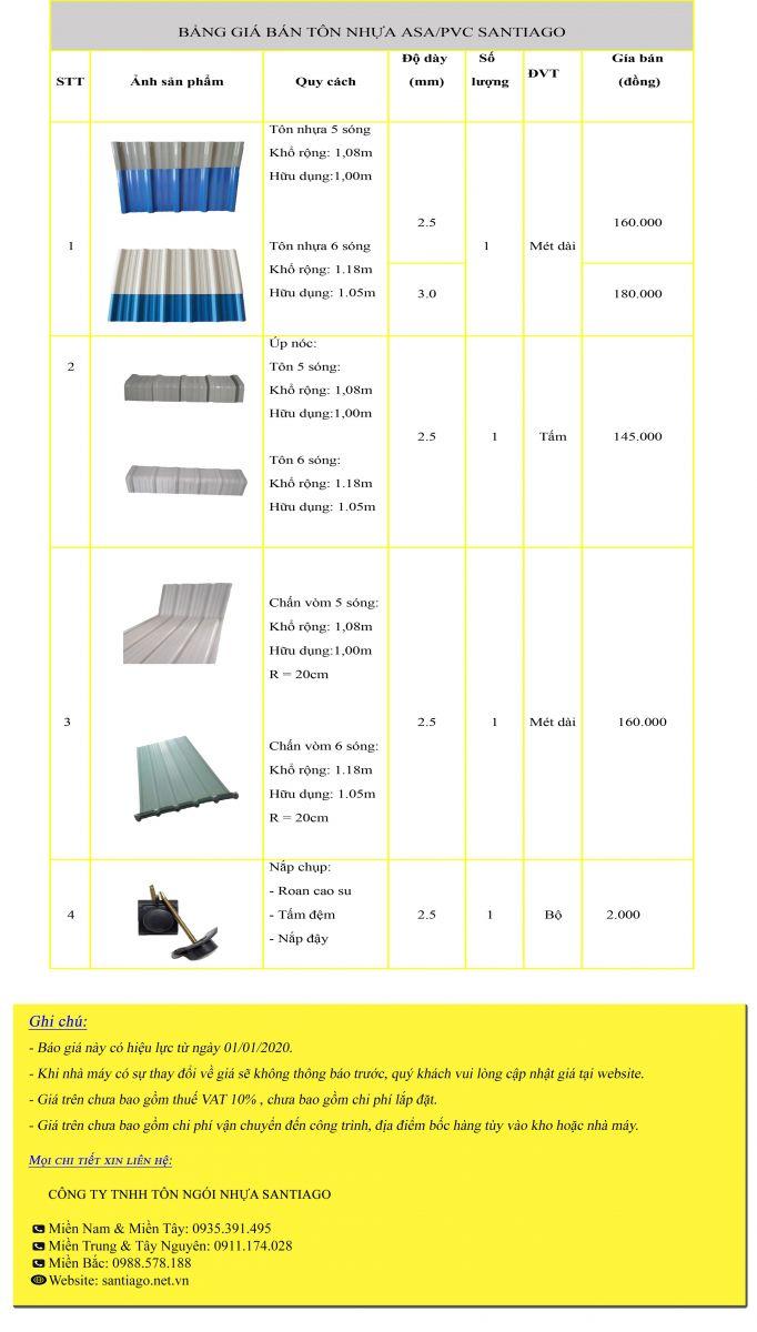 giá tôn nhựa pvc asa