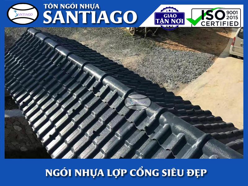 cổng nhà lợp ngói nhựa pvc asa santiago