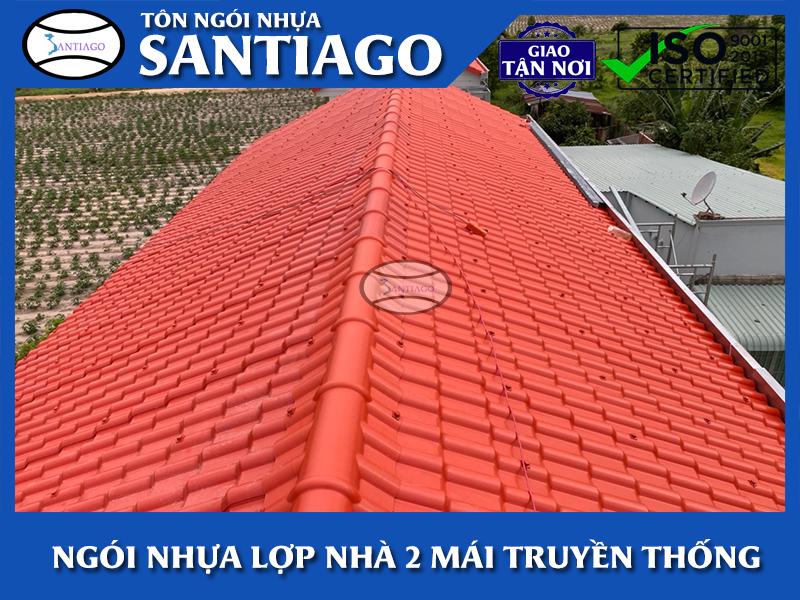 mái ngói nhựa pvc asa santiago lợp mái nhà 2 mái