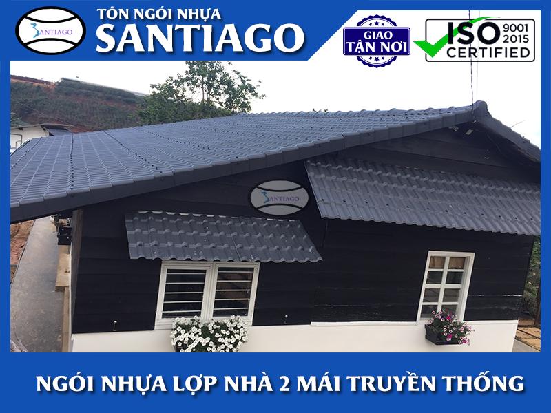 nhà hai mái lợp ngói nhựa pvc asa santiago