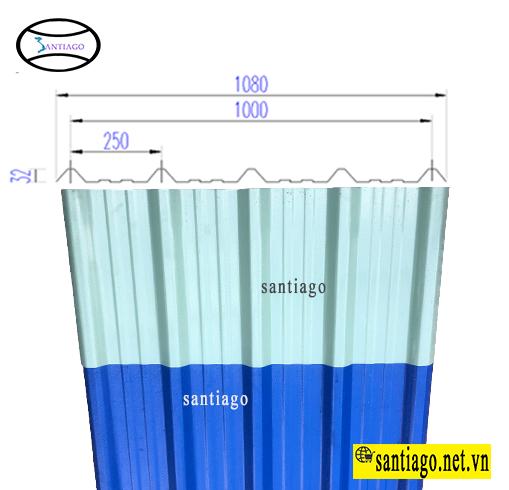 quy cách tôn nhựa pvc asa santiago 5 sóng