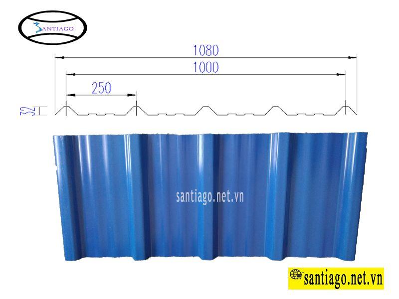 tôn nhựa 5 sóng màu xanh