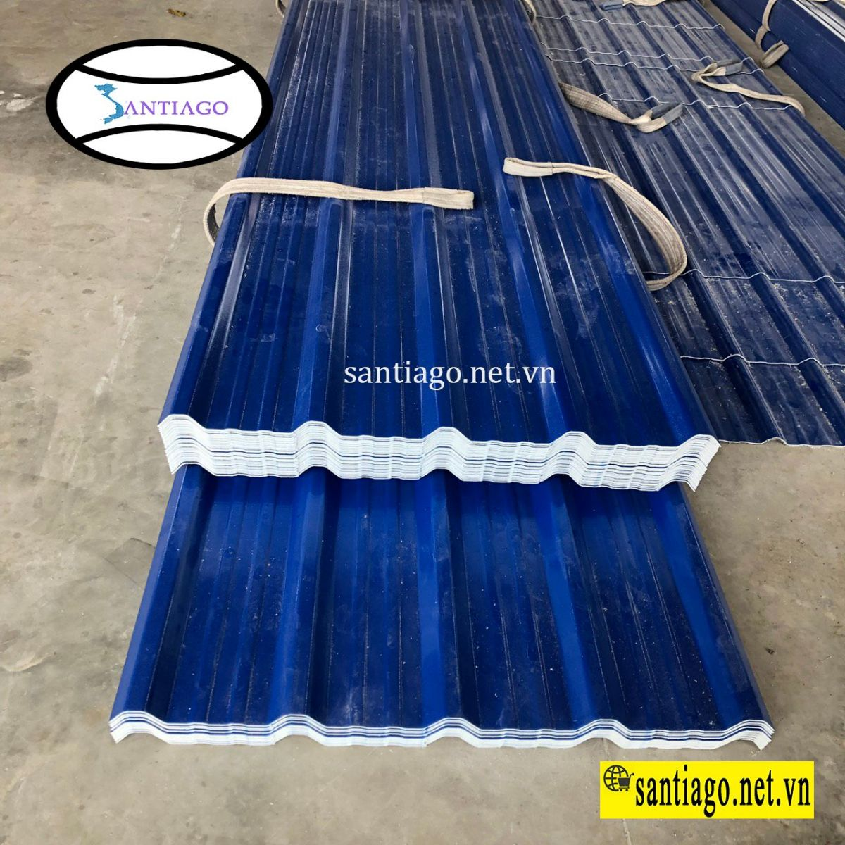 tôn nhựa 5 sóng màu xanh dương