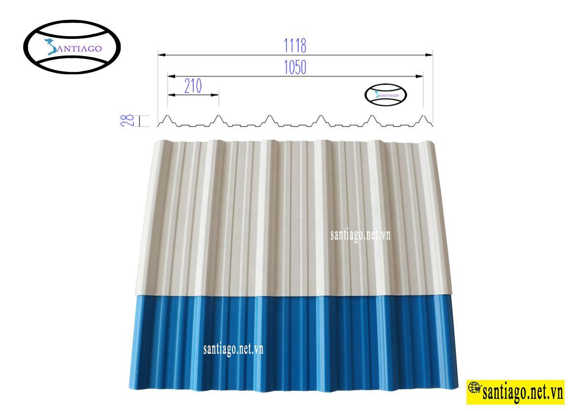 tôn nhựa pvc 6 sóng vuông